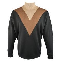 Men's PRADA Size M Black Brown & Tan Color Block Wool Turtleneck