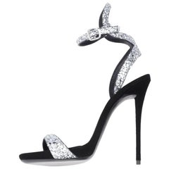 Giuseppe Zanotti New Silver Glitter Ankle Evening Sandals Heels in Box