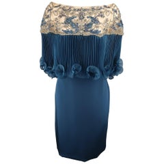 Marchesa Dress - Evening - Beaded Cocktail Capelet Skirt