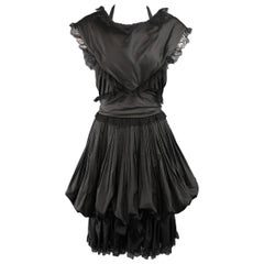 CHANEL Size 6 Black Silk & Lace Pleated Bubble Skirt Cocktail Dress