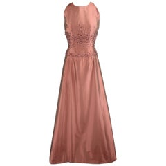 BADGLEY MISCHKA Size 10 Dusty Rose Silk Taffeta Beaded Bodice Evening Gown