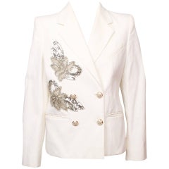 Chanel White Faille and Sequin Jacket