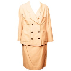 1990's Chanel Boutique Apricot Skirt and Jacket Suit Ensemble
