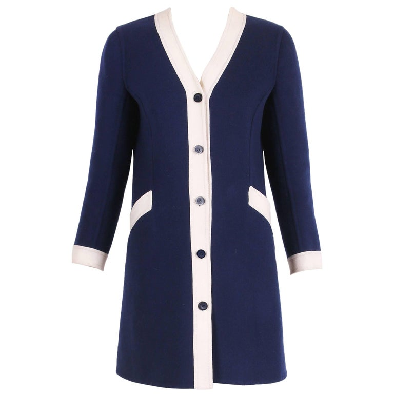 1970's Valentino Navy Melton Wool Coat Dress W/White Trim & Frontal Pockets