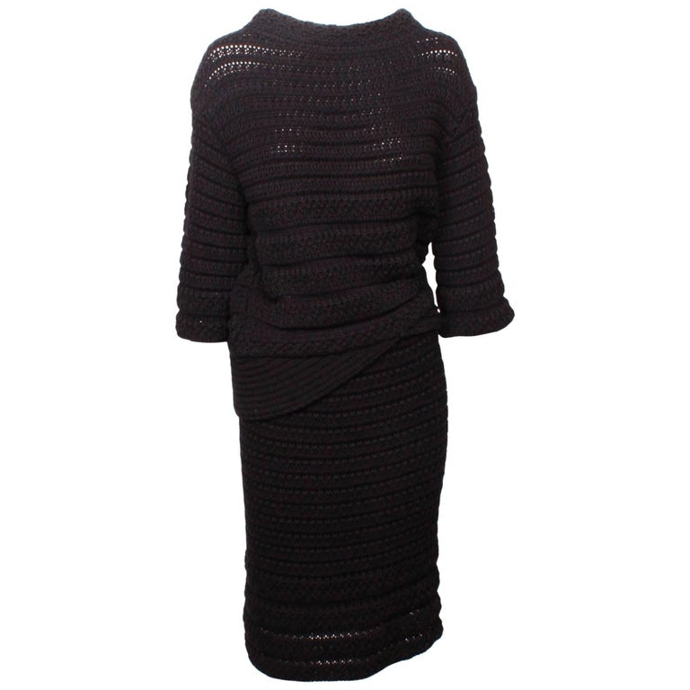 Chanel Knitted Two Piece Skirt and Top Ensemble