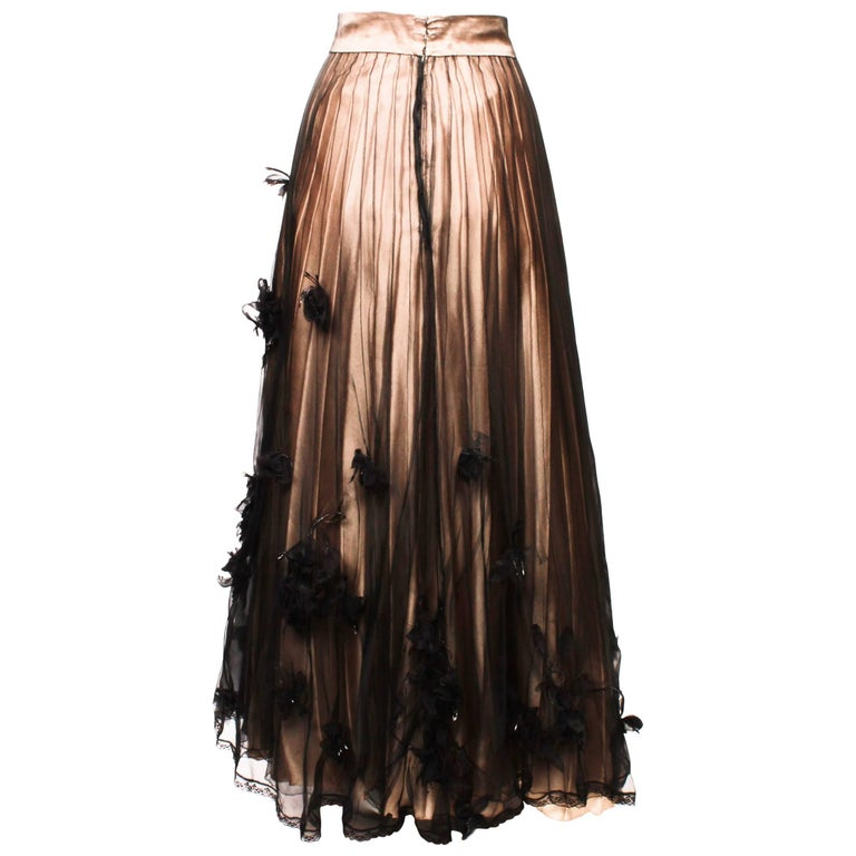Chanel Sheer Evening Skirt with Silk Flowers