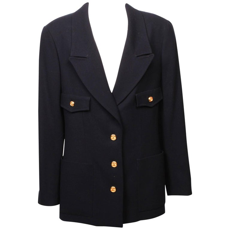 Chanel navy blue single breasted Blazer, 1990s