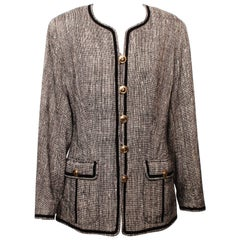 Chanel Back and White Tweed Jacket