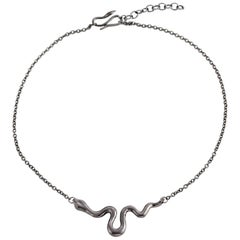 Giulia Barela Ribbon S 925 Silver Black Rhodium Necklace: