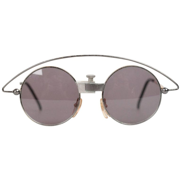 d6bc84e7c4 Casanova Vintage Rare Round Sunglasses Mod MTC 3 Gold Plated 24K 48-20 For  Sale at 1stdibs
