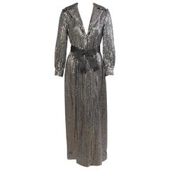 Miss Bergdorf Black Silk Evening Dress with Silver Sequins