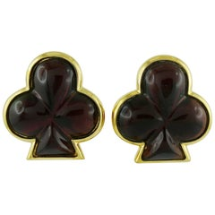Yves Saint Laurent YSL Vintage Club Clip-On Earrings