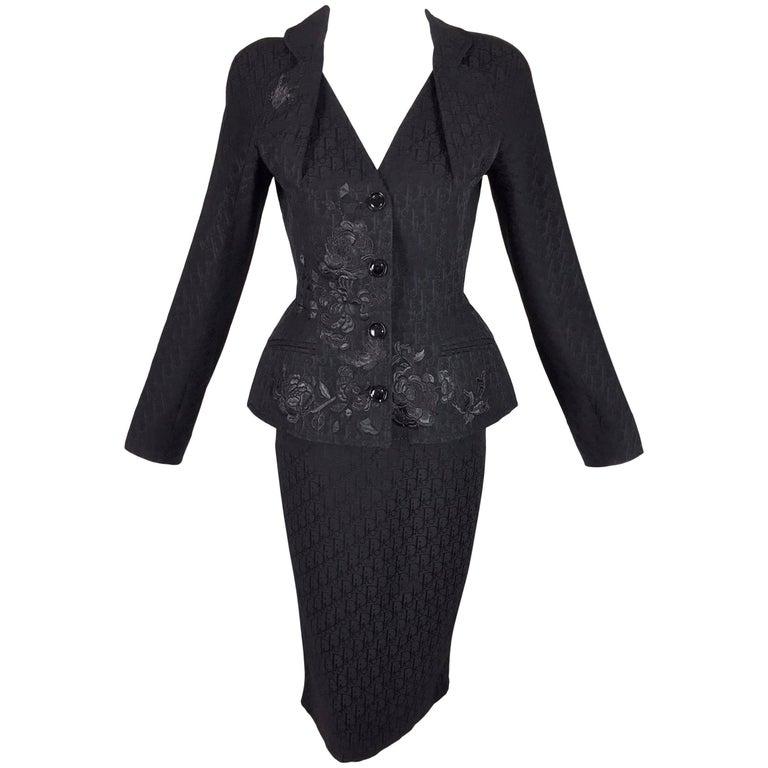 Christian Dior S/S 2005 Black Monogram Logo Pin-Up Bar Jacket Skirt Suit