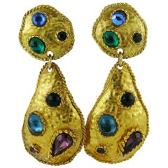 Edouard Rambaud Vintage Jewelled Dangling Earrings
