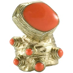 1990's Yves Saint Laurent Chunky Faux Coral Gilded Modernist Ring