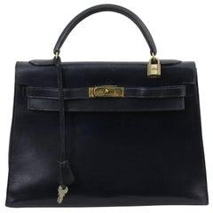 Hermes Vintage Kelly 32 Navy Bag, 1966