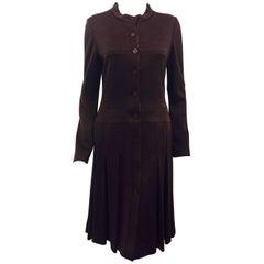 Classic Chanel Burgundy Long Sleeve Pleated Wool Blend Dress 44