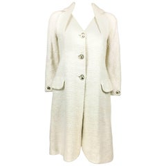 2005 Dior by Galliano White Boucle Coat With Padlock Buttons