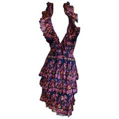 Christian Dior Galliano Resort 2009 Colorful Low Cut Ruffled Silk Halter Dress