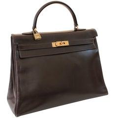 Hermes Kelly Bag 35cm Retourne Sac a Depeches Brown Box Leather Vintage
