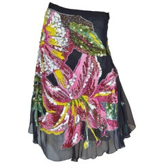 Amen Multi-Colored Sequins Floral Skirt