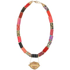 Paper Bead and Lip Necklace