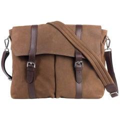 Brunello Cucinelli Gray Brown Leather Expandable Messenger