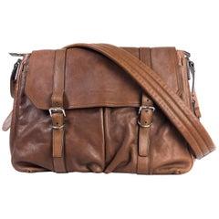 Brunello Cucinelli Men's Solid Brown Leather Messenger Bag