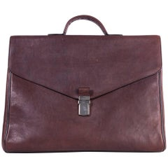 Brunello Cucinelli Brown Distressed Leather Gusset Briefcase