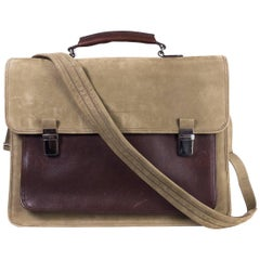 Brunello Cucinelli Men's Brown Two Tone Suede Messenger Bag