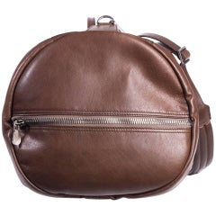 Brunello Cucinelli Men's Solid Brown Leather Duffle Bag