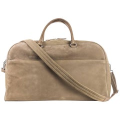 Brunello Cucinelli Men's Beige Leather Duffle Travel Bag