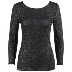 VALENTINO Boutique A/W 2000 Black Metallic Sequin Knit Scoop Neck Top