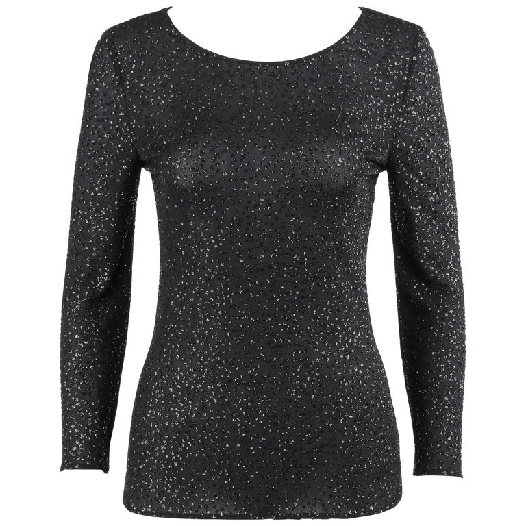 VALENTINO Boutique A/W 2000 Black Metallic Sequin Knit Scoop Neck Top For Sale