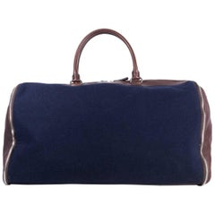Brunello Cucinelli Buffalo Leather & Navy Flannel Garment Duffel