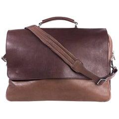 Brunello Cucinelli Men's Brown Double Zip Messenger Bag