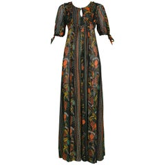 Ossie Clark Vintage Crepe Ruffle Dress with Celia Birtwell Print, 1960s