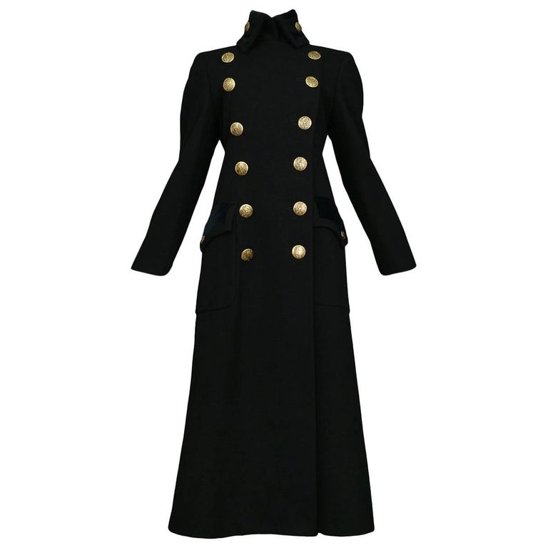 Chic Dolce & Gabbana Black Wool and Velvet Military Style Coat w Brass Buttons