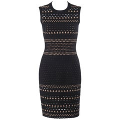 ALAIA Paris Black Wool Angora Geometric Cut Work Shift Cocktail Dress