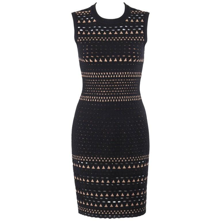 ALAIA Paris Black Wool Angora Geometric Cut Work Shift Cocktail Dress