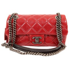 Chanel Red Distressed Leather Crossbody Bag