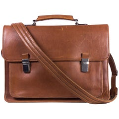 Brunello Cucinelli Men's Brown Leather Messenger Bag