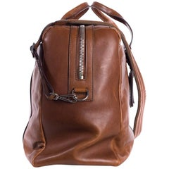 Brunello Cucinelli Men's Brown Cognac Leather Travel Bag