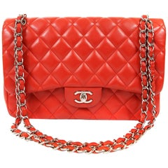Chanel Red Lambskin Jumbo Classic Double Flap Bag with Silver HW