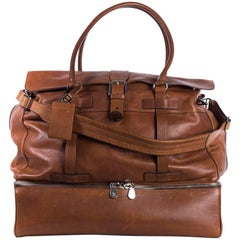 Brunello Cucinelli Men's Cognac Brown Leather Weekender Bag