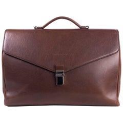 Brunello Cucinelli Men's Brown Leather Gusset Briefcase