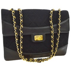 Chanel Black Leather Fabric Gold Evening Single Double Strap Shoulder Flap Bag