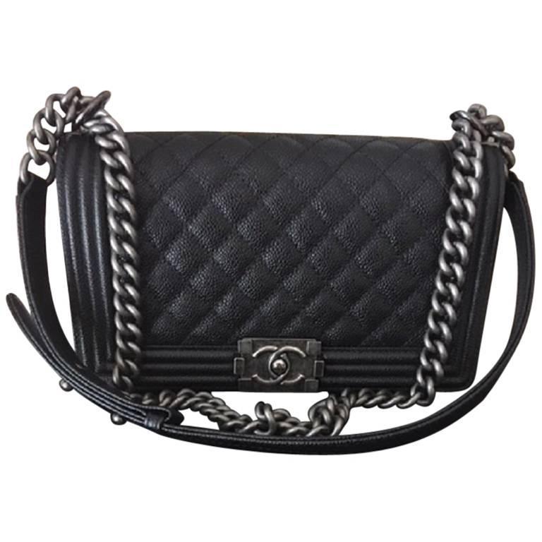 Chanel Medium Boy Bag in Caviar leather  For Sale