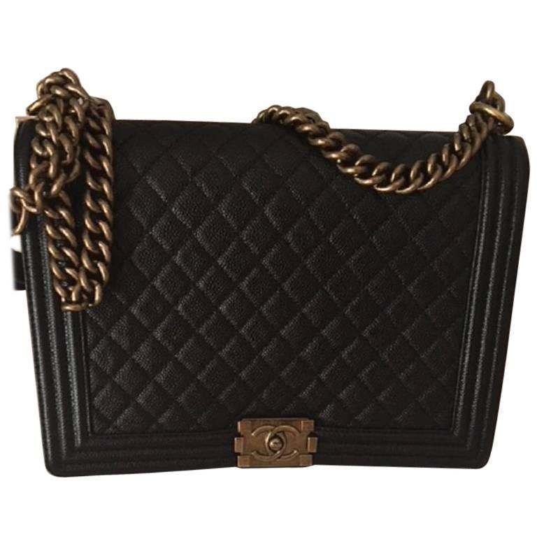 chanel large boy bag in caviar leather at 1stdibs. Black Bedroom Furniture Sets. Home Design Ideas