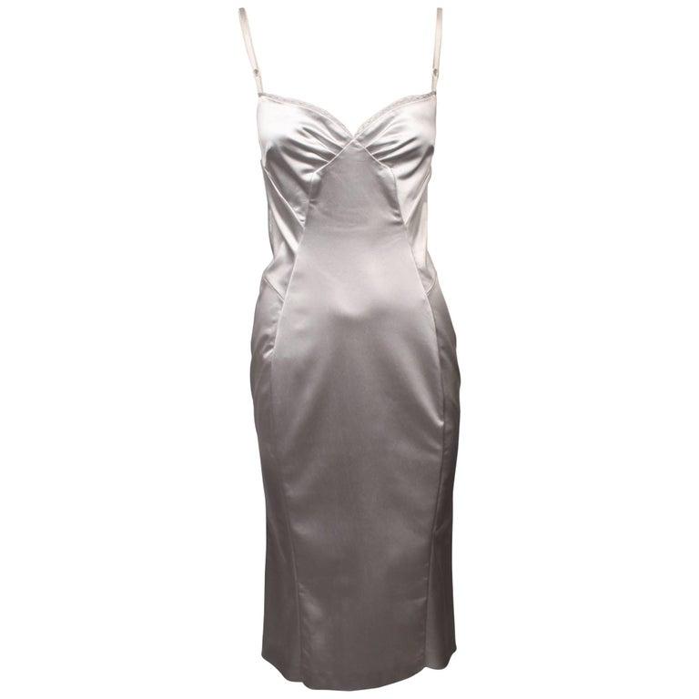 D&G Dolce & Gabbana Silver Satin Slip Dress